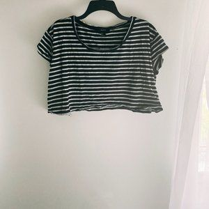 Forever 21 Black/Grey Stripe Short Sleeve Crop Top